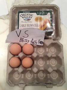 Bliss Farm Falls eggs go head to head with Organic Valley Eggs from the supermarket.
